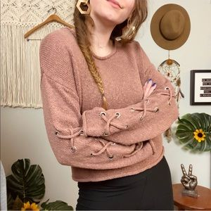 Shrinking Violet Boho Lace Up Sleeves Crop Sweater
